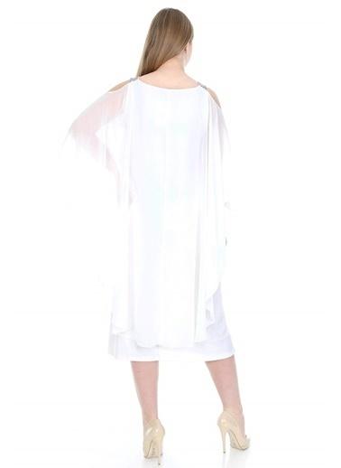 Angelino Butik Büyük Beden Omuzları Taşlı Askılı Şifon Elbise KL805 Beyaz